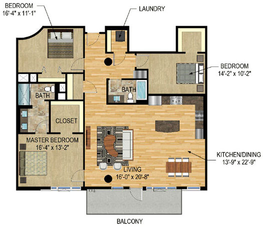 Floor Plan - The Legacy Minneapolis - Unit 1321