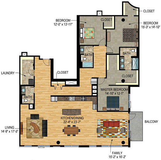Floor Plan - The Legacy Minneapolis - Unit 1419